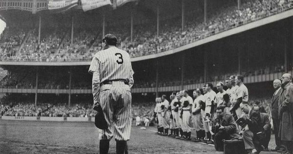 Basement photo collage? Babe Ruth bows out at Yankee Stadium 1948.