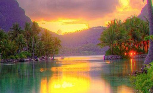 Sunset at St. Regis - Bora Bora. Bora Bora #travel # ...