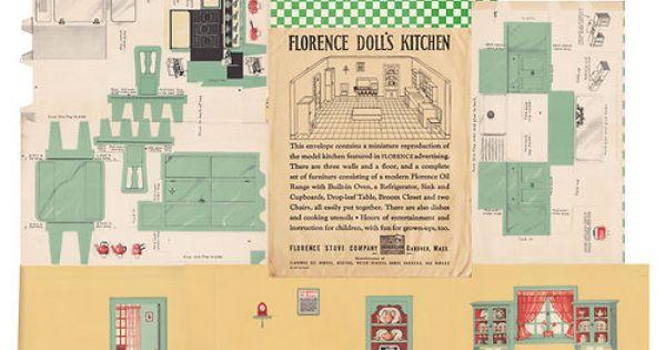 Vintage 1933 Florence Doll S Miniature Model Kitchen Florence Stove Co Mass Ebay Paper Doll House Paper Models Paper Dolls