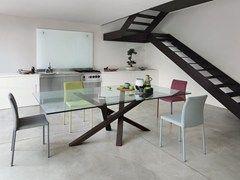 Tavolo da pranzo rettangolare in legno e vetro SHANGAI ...