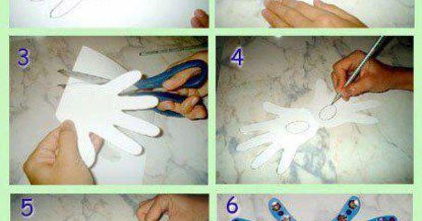 Masque en carton avec empreintes de main empreintes - Activite manuelle avec empreinte de main ...