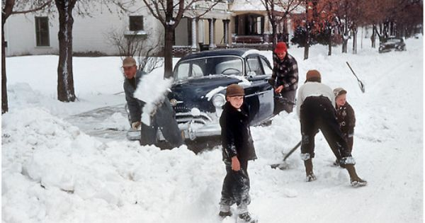 Xenia Oh 1950 Shoveling Snow Around A 49 50 Oldsmobile Photographs Of People Xenia Vintage Motorcycles