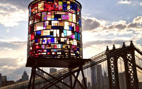 stained glass water tower. why can't the whole world be full of