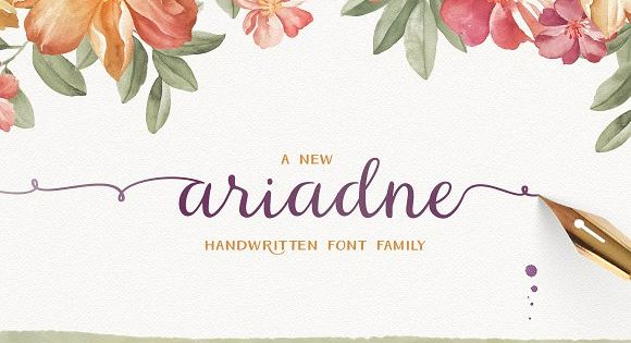 Ariadne – handwritten font family full of open type features such as ligatures, swashes, ornaments, catchwords