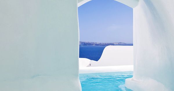 Canaves Oia Hotel, Santorini. This pool goes from the room to the