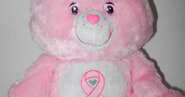 pink power care bear breast cancer awareness ribbon plush