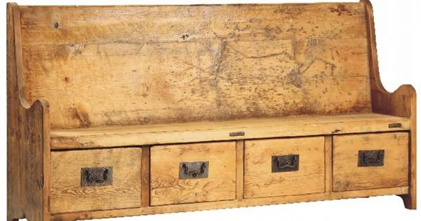 Travis old reclaimed wood bench with four drawers 1285 for Erma muebles
