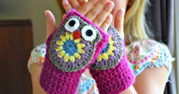 Little owl crochet mittens free pattern