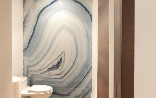 gorgeous stone wall / Modern Bathroom by DKOR Interiors Inc.- Interior Designers