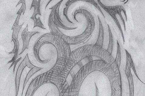 -Elaine Proffitt original,Tribal howling wolf drawing, © 2011 Cuestix International