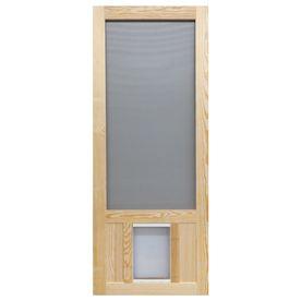 Chesapeake Wood Wood Hinged Screen Door With Pet Door Common 32 In X 80 In Actual 32 In X 80 In With Images Wood Screen Door Vinyl Screen Doors Screen Door