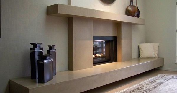 Cantilevered hearth and mantle concrete fireplace for Concrete mantels and hearths