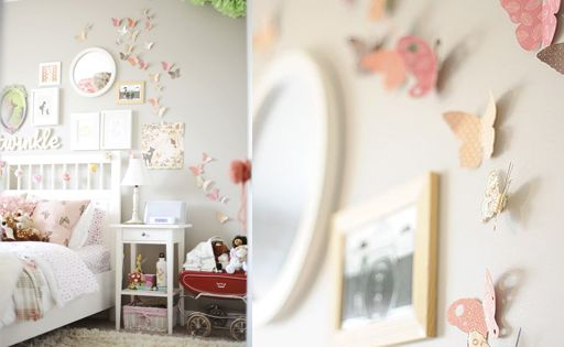 Butterflies on the wall in girls room girls room ideas for Butterfly bedroom ideas