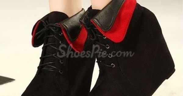 Wedge shoes - #Retro #Wedge #Heels Ankle #Boot With Lace-Up