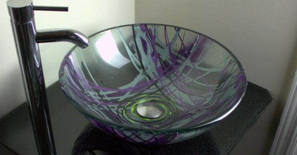 Purple lilac silver and yellow hand painted bathroom glass for Purple glass bathtub
