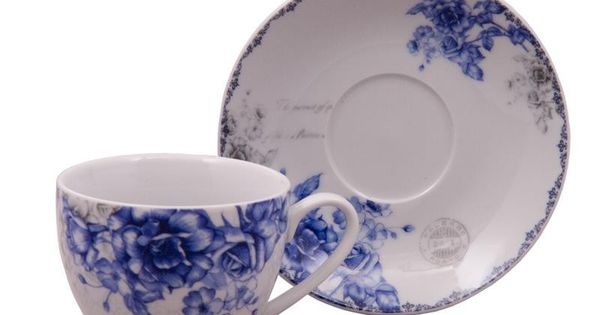 Blue Rose Teacups And Saucers Set Of 6 With 6 Tea Cups 6