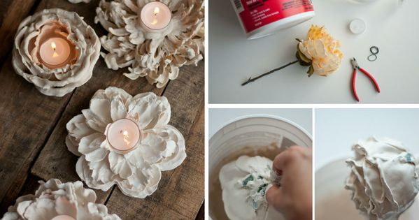 dipped flower candles! Just reuse that extra plaster! (By @Design ...