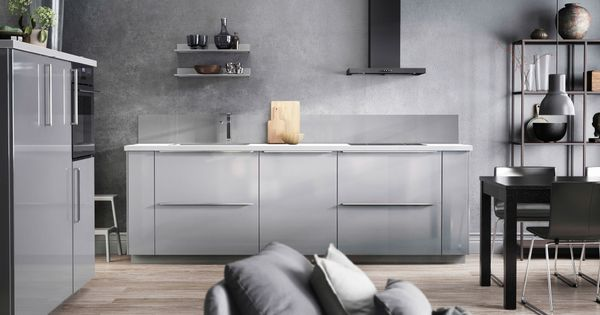 graue k che mit ringhult fronten hochglanz grau und details in grau k che pinterest grey. Black Bedroom Furniture Sets. Home Design Ideas