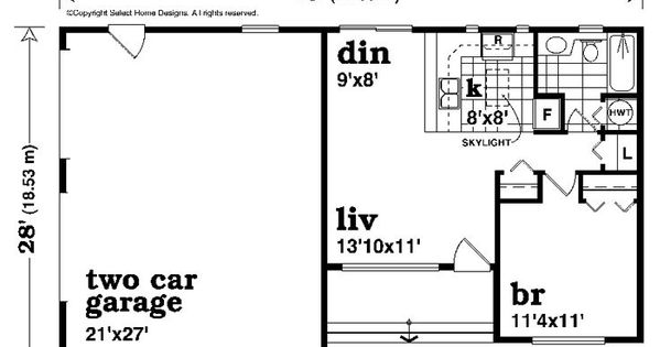 2 Car Garage With Apartment Plan 604 Sq Ft 032g 0008