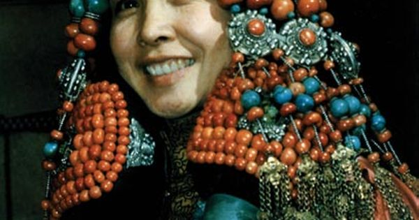 Mongolian woman's headdress of silver and red coral