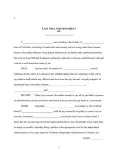 Free Printable Last Will And Testament Form Generic