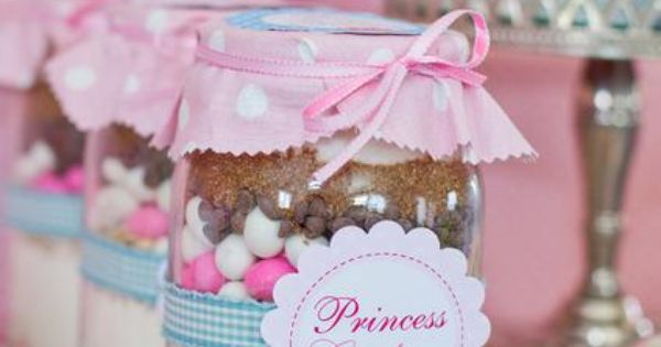 Tea Party Themed Birthday Party Princess Cookies Ingredients in Mason Jars via