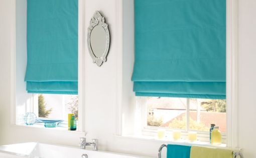 Nice Turquoise Romans In A Bathroom Roman Shades