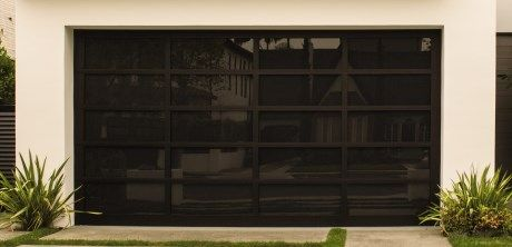 Black Glass Garage Door Glass Garage Door Garage Doors Modern Garage Doors