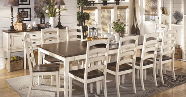 Whitesburg vintage casual 11 pcs dining room set w rect for Casual dining room ideas pinterest