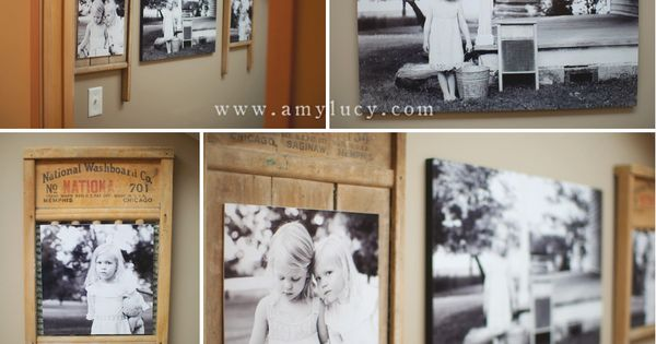 Washboard frames - great idea for the laundry room!