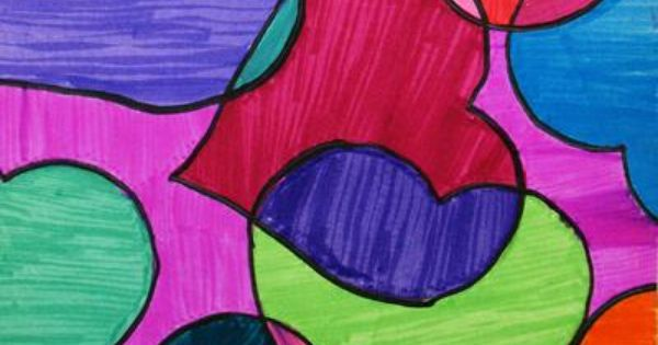overlapping shapes   art lessons: line and texture   Pinterest