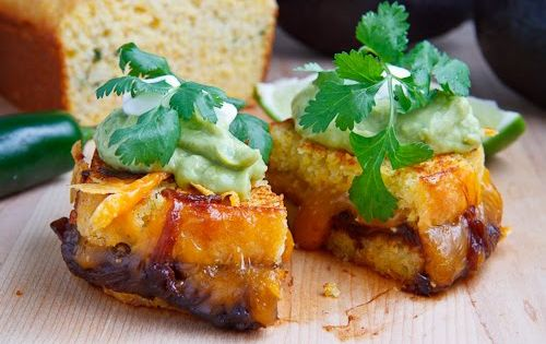Jalapeno Cornbread Grilled Cheese with Chipotle Caramelized Onions, Refried Black Beans and