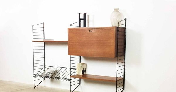 bokhyllan the ladders shelf string regal teak wall unit nisse kaisa strinning 1949 d e. Black Bedroom Furniture Sets. Home Design Ideas