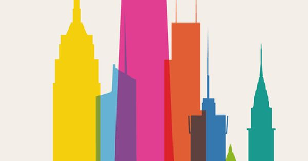 Poster - NYC - New York City - Skyline - Color -