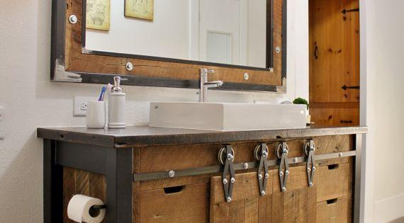 Benoist Reclaimed Wood Vanity Mirror: Reclaimed Barn Wood Vanity W