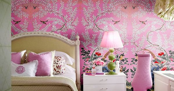 Hand painted chinese wallpaper panels from decorative arts for Girly wallpapers for bedrooms