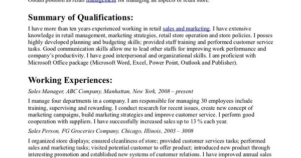 Resume Objective Statement For Sales