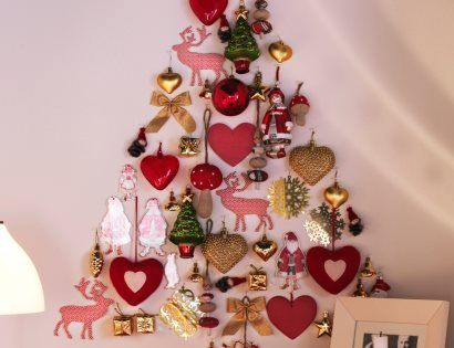 Creativity - Arrange ornaments in a tree shape on the wall! Perfect