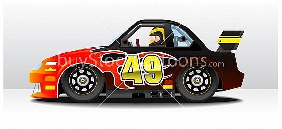 Nascar Racing Car Cartoon Illustration C Timothy Pronk