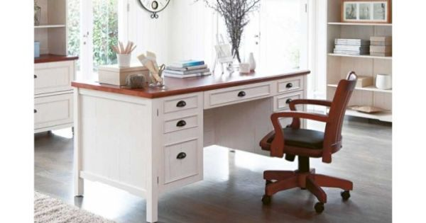 Piedmont Executive Desk Distressed White Furniture Desks Suites Harvey Norman