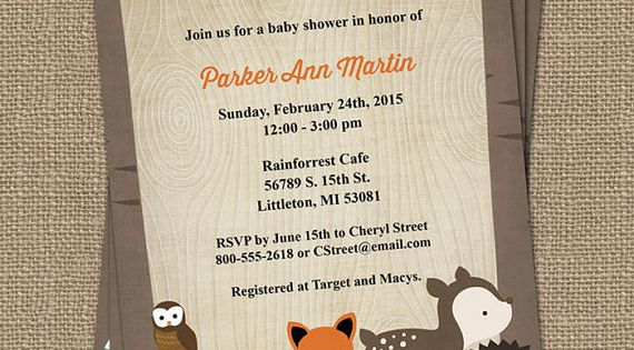 """Woodland Animals Baby Shower Invitations 