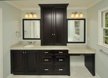 Master Bathroom Vanity With Makeup Area Design Pictures Remodel Decor And Ideas Bathroom With Makeup Vanity Master Bathroom Vanity Contemporary Bathrooms