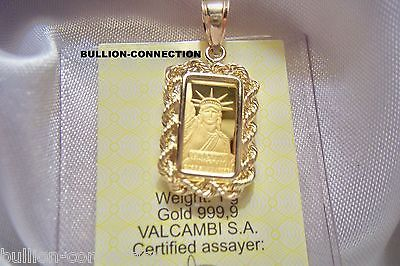 New 1 Gram Solid Gold Credit Suisse Liberty Bar Pendant 14 Kt Solid Gold Bezel Bar Pendant Credit Suisse Pendant