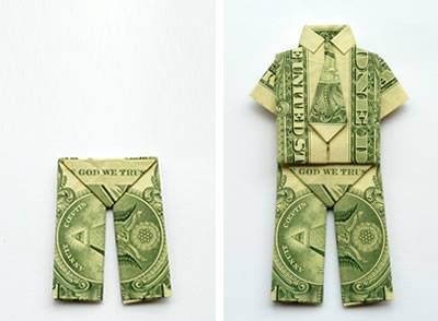 Paper Money Origami with American Dollar Bills; Shirt & Tie | The ... | 294x400