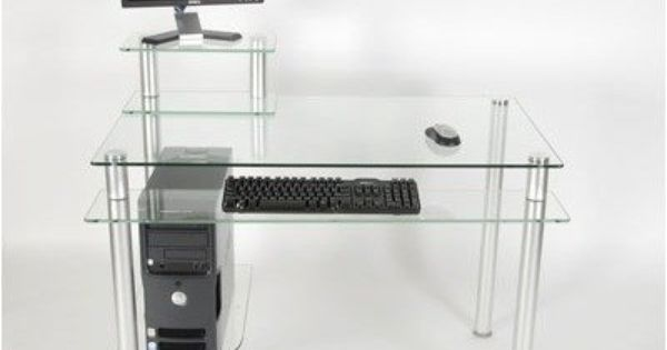 43 W Computer Desk With Keyboard Tray Glass Clear By Rta Home And Office 142 99 Desk Is Supported Glass Computer Desks Glass And Aluminium Desk Furniture