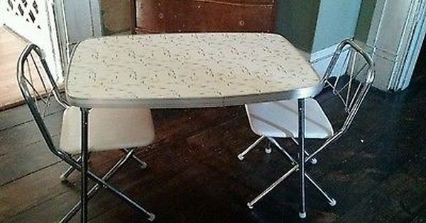 Vintage Childs Table Chair Set Mid Century Chrome Costco Formica Look Folding Chair Chair Set Table And Chairs