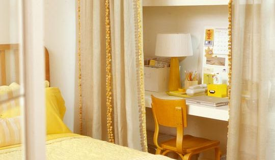 Yellow bedroom and closet office, great idea for a guest bedroom