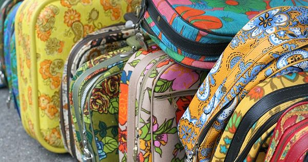 ♥ retro floral suitcases. I used a small one of these as
