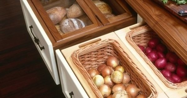 Kitchen Ideas: bread bins and dry vegetable storage - in pull out