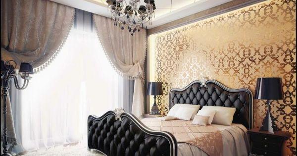 le papier peint baroque et le style moderne classique papier peint baroque rideau vintage et. Black Bedroom Furniture Sets. Home Design Ideas